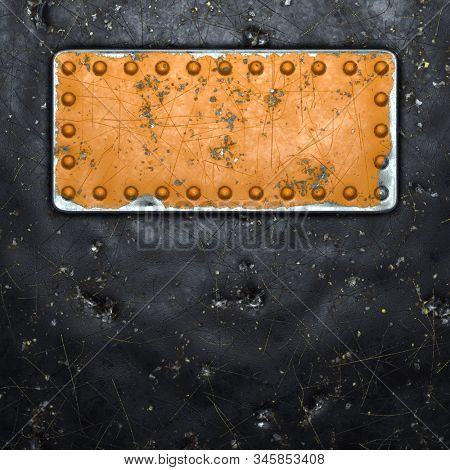 Rusty metal strip with rivets on the center against on black metal background 3d rendering