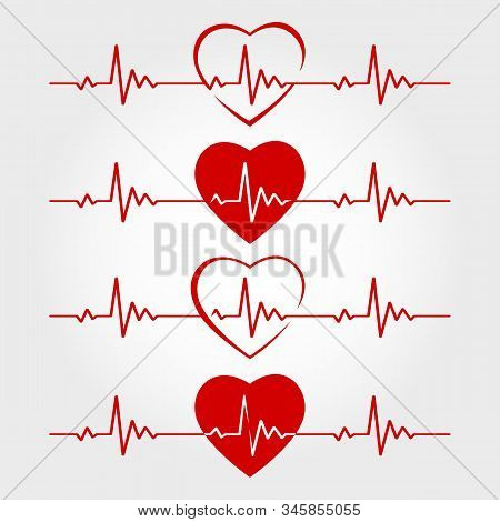Ecg Lines With Hearts. Vector Heart Line Monitor Cardiogram, Health And Life Pulse Illustrations, Re