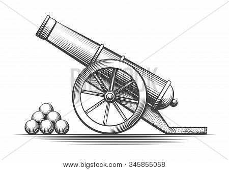 Cannon Weapon Firing. Antique Cannons Shooting, Vector Vintage Weapons With Cannonballs Arsenal Isol