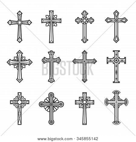 Crucifix Images. Jesus Christ Vintage Crosses Vector Illustration For Tattoos And Religious Ornate D