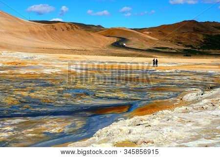 The View Of The Smoking Surface And Colorful Ground At Namafjall Hverir Geothermal Area, Myvatn, Ice