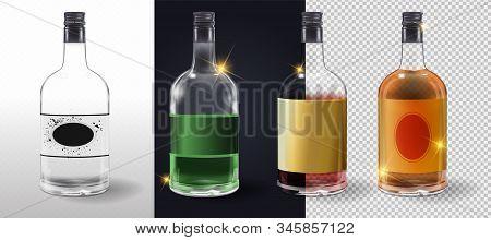 Glass Bottles Or Glassware Vector Icons On Transparent Background. Glass Wine Vinegar Bottle With Pl