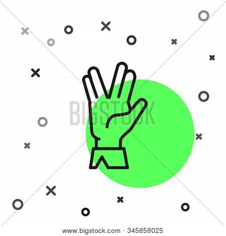 Black Line Vulcan Salute Icon Isolated On White Background. Hand With Vulcan Greet. Spock Symbol. Ve