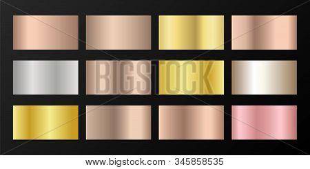 Silver, Platinum, Bronze, Rose Gold Vector Metallic Gradients. Buttons Set. Shiny Chrome, Alloy, Alu