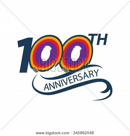 100 Years Anniversary Vector Template Design Illustration Birthday Abstract Logo. 100th Jubilee