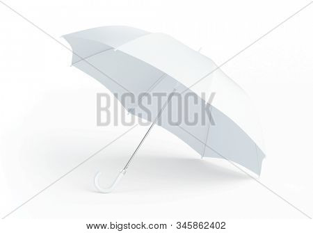 Blank white umbrella isolated on white background. Realistic 3d rendering of opened parasol