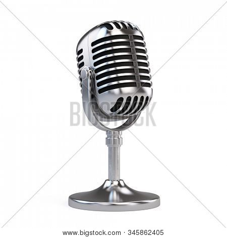 Retro steel concert vocal microphone with stand isolated on white Background. Webinar or Karaoke concept. 3d rendering icon of microphone.