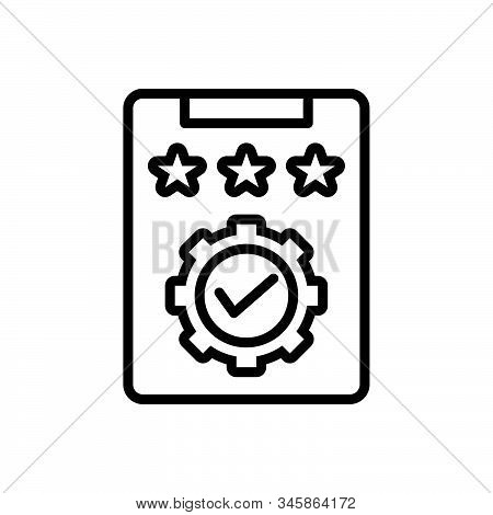 Black Line Icon For Review Scrutiny Review-committee Enquiry Report