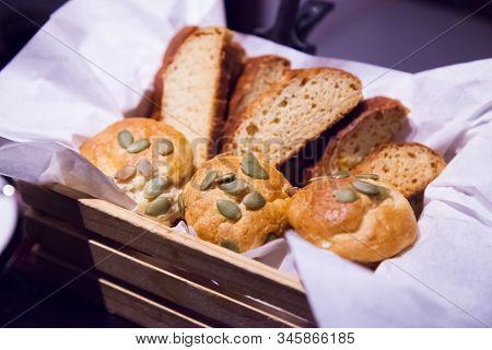 Selective Focused Gluten Free Sun Flower Seeds Bread. Farmhouse Freshly Baked Toast Bun Variety, Foo