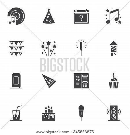 Party Event Decorations Vector Icons Set, Modern Solid Symbol Collection, Filled Style Pictogram Pac