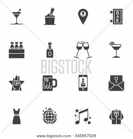 Bar Party Event Vector Icons Set, Modern Solid Symbol Collection, Filled Style Pictogram Pack. Signs