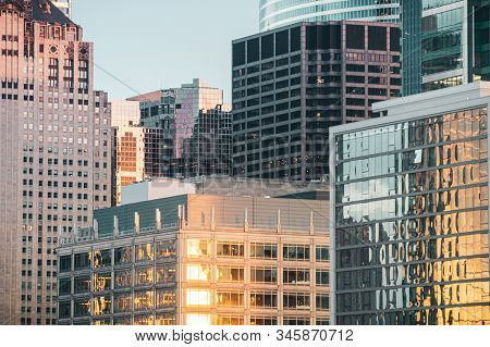 Office Buildings In The City At Sunset. Urban Aerial Architecture In West Loop, Chicago, Usa.