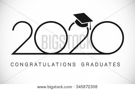 Class Of 2020 Year Graduation Banner, Awards Concept. Outline Sign, Happy Holiday Invitation Card, T