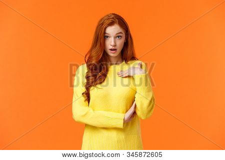 Who Me. Frustrated And Shocked, Confused Redhead Woman Accused, Pointing Herself And Gasping Stare A