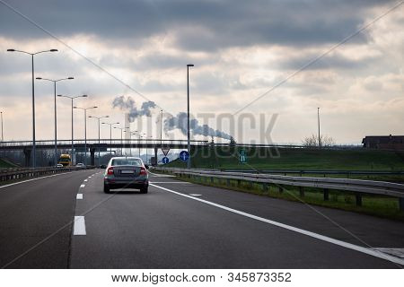 Car Travel In Highway. Traveling By Car On The Road. Car In Highway Landscape. Travel By Car In High