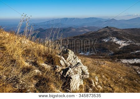 View On Valley Nature Mountain Landscape. Mountain Layers Landscape. Winter In Mountain Meadow Lands