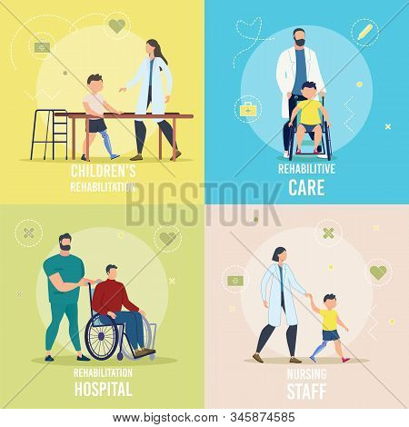 Disabled Children And Adults Rehabilitation In Hospital, Rehabilitative Care, Nursing Staff Trendy F