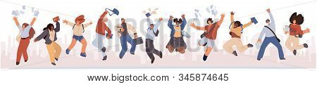Group Of Happy Students Jumping With Books, Paper In Hands. Young Joyful Jumping And Dancing Multira