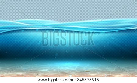 Realistic Sea Underwater Scene With Transparent Waves. Vector Illustration. Realistic Ocean Landscap