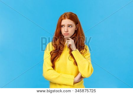 Sad Timid And Lonely Redhead Woman Too Feeling Let Down And Depressed, Sulking Looking Upset And Env