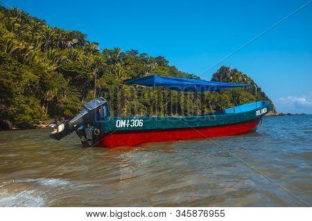 Tela, Honduras »; January 2020: A Local Transport Boat On Puerto Caribe Beach In Punta De Sal In The