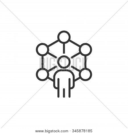 Corporate Organization Chart With Business People Vector Icon In Flat Style. People Cooperation Illu