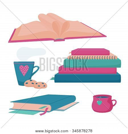 Pile, Stack Of Books And Notebooks, Closed Hardcover Book With Tassel And Markers, Cup And Mug Of Ho