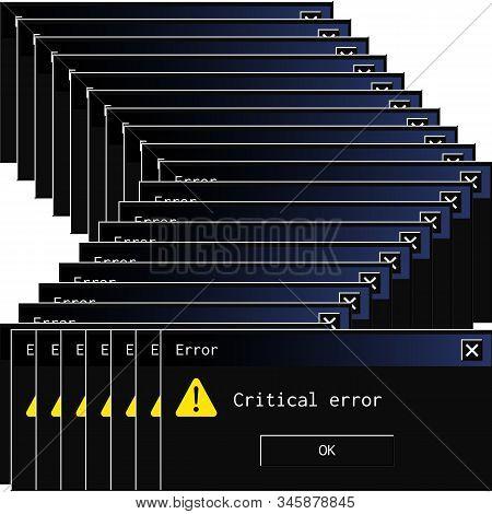 Vintage System Error Message Popup In Contemporary Night Mode Dark Theme.