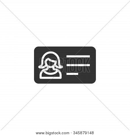 Women Id Card Icon In Flat Style. Identity Tag Vector Illustration On White Isolated Background. Dri