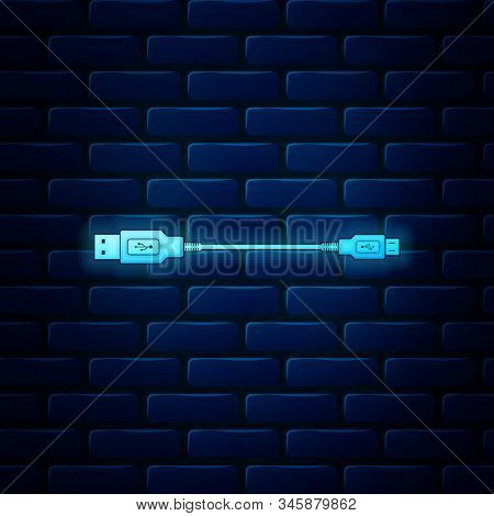 Glowing Neon Usb Micro Cables Icon On Brick Wall Background. Connectors And Sockets For Pc And Mobil