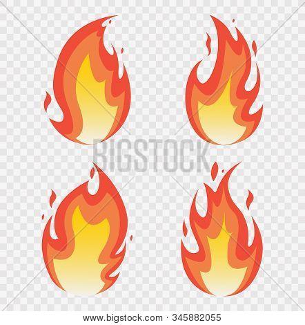 Fire Flames Set. Fires Image, Hot Flaming Ignition, Flammable Blaze Heat Explosion Danger Flames Ene