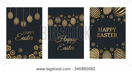 Happy Easter Luxury Holiday Cards Set With Easter Greeting And Gold Colored Easter Eggs. Vector Illu
