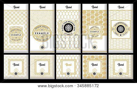 Vector Set Of Design Elements, Labels , Icon, Frames , For Packaging, Design Of Luxury Products. Mad