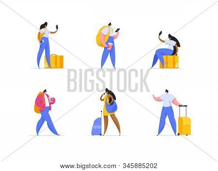 Tourist Trip, Vacation Abroad, Travelling Flat Vector Illustrations Set