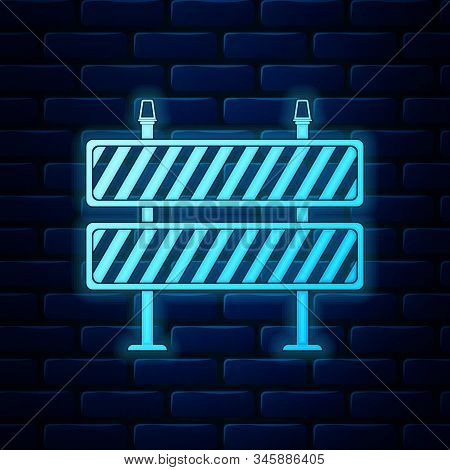 Glowing Neon Road Barrier Icon On Brick Wall Background. Symbol Of Restricted Area Which Are In Unde