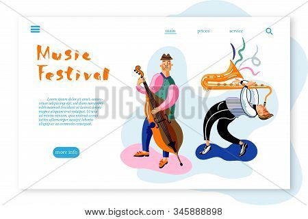 Music Festival landing page template. Musicians flat vector characters set. Band, orchestra performance, concert. Saxophone and double bass cartoon players pack. Live music festival retro color illustration. poster
