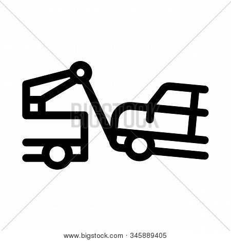 Towing Broken Car Icon Vector. Outline Towing Broken Car Sign. Isolated Contour Symbol Illustration