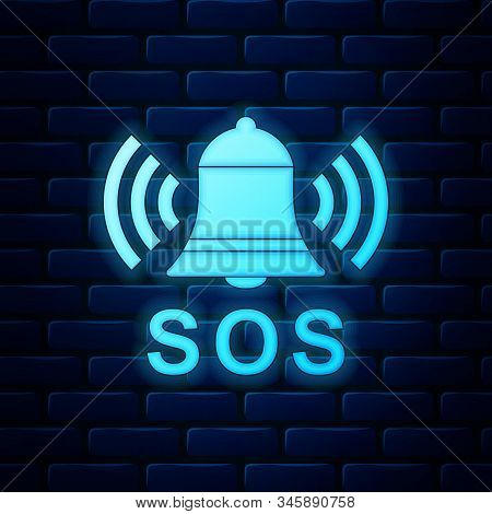 Glowing Neon Alarm Bell And Sos Lettering Icon Isolated On Brick Wall Background. Warning Bell, Help