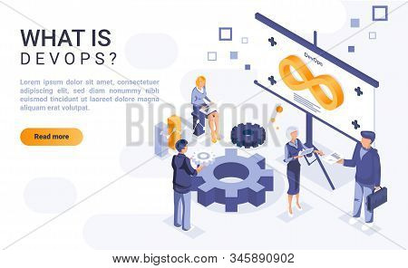 What Is Devops Landing Page Template With Isometric Illustration. Software Development And Informati