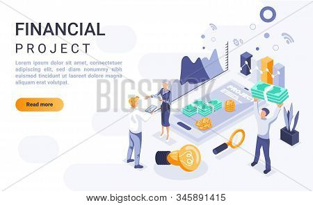Financial Project Landing Page Vector Template With Isometric Illustration. Company Budget Managemen