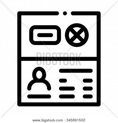 Passport Denial Icon Vector. Outline Passport Denial Sign. Isolated Contour Symbol Illustration