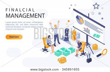 Financial Management Landing Page Vector Template With Isometric Illustration. Economic Literacy Hom