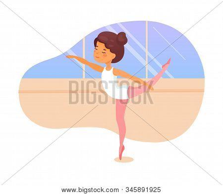 Ballet Dancer Lesson Flat Vector Illustration. Little Ballerinas Practicing Dance Movements Cartoon