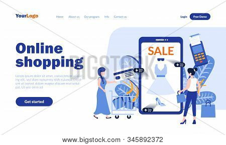 Online Shopping Vector Landing Page Template With Header. Discount Mobile App Web Banner, Homepage D