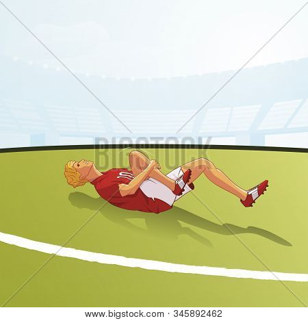 Injured Footballer Lying On Ground Flat Vector Illustration. Football Player Simulating Cartoon Char