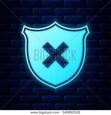 Glowing Neon Shield And Cross X Mark Icon Isolated On Brick Wall Background. Denied Disapproved Sign