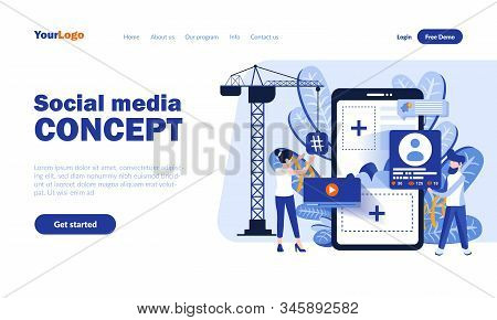 Social Media Vector Landing Page Template With Header. Online Communication App Web Banner, Homepage