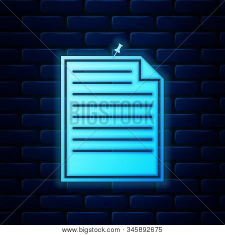 Glowing Neon Note Paper With Pinned Pushbutton Icon Isolated On Brick Wall Background. Memo Paper Si