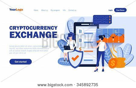 Cryptocurrency Exchange Vector Landing Page Template With Header. Online Currency Market Web Banner,