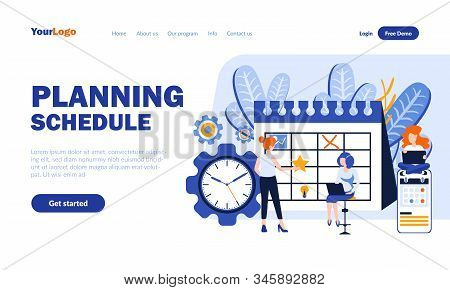 Planning Schedule Flat Landing Page Template With Header. Work Time Use Optimization Web Banner, Hom